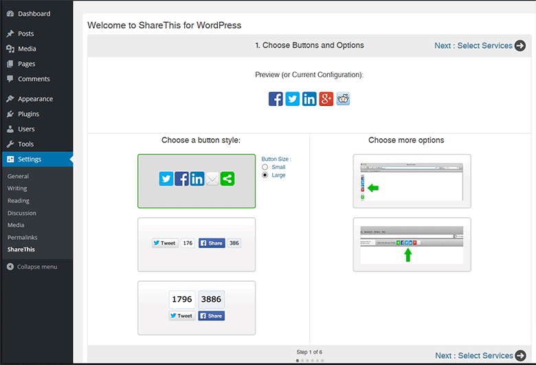 ShareThis WP admin