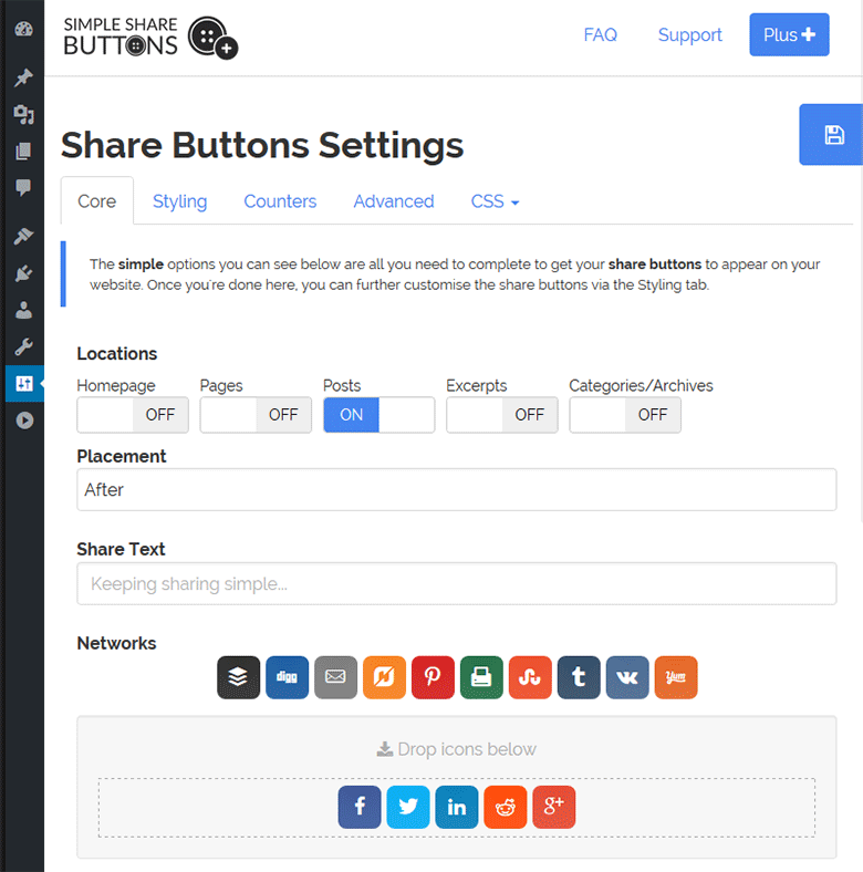 Simple Share Buttons WP