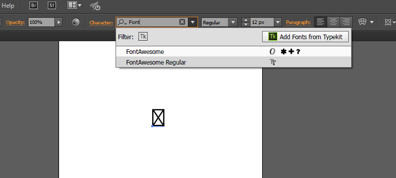 Changing font to Font Awesome in Adobe Illustrator CC