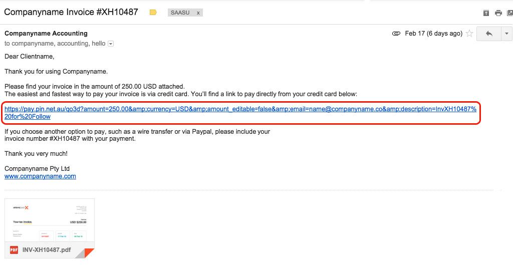 pay saasu invoices via pin payments xfive