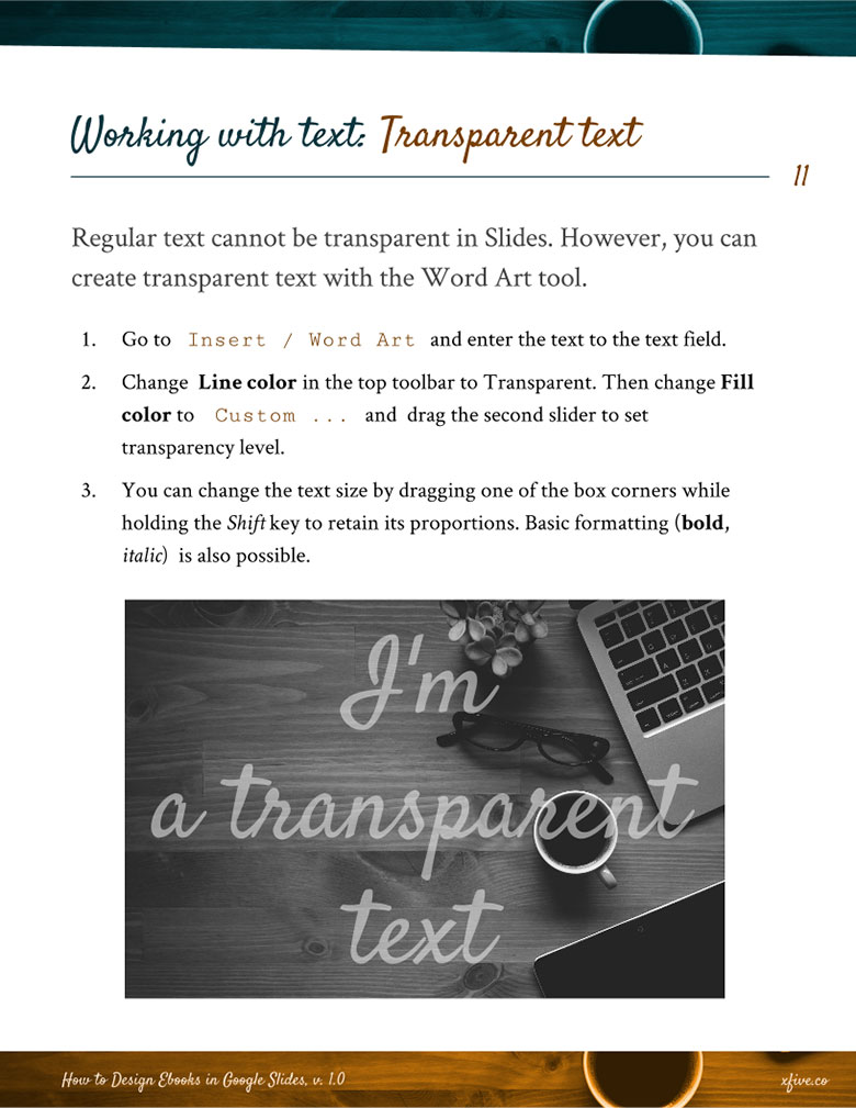 Sample of How to Design Ebooks in Google Slides: Transparent text