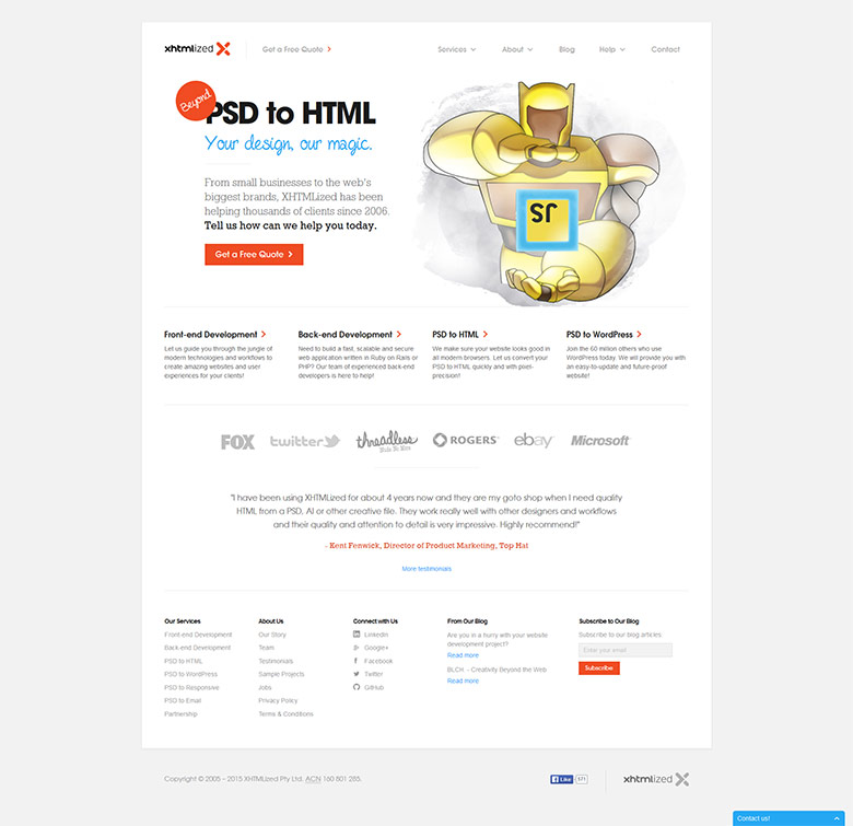 XHTMLized's home page with a robot mascot in April 2015