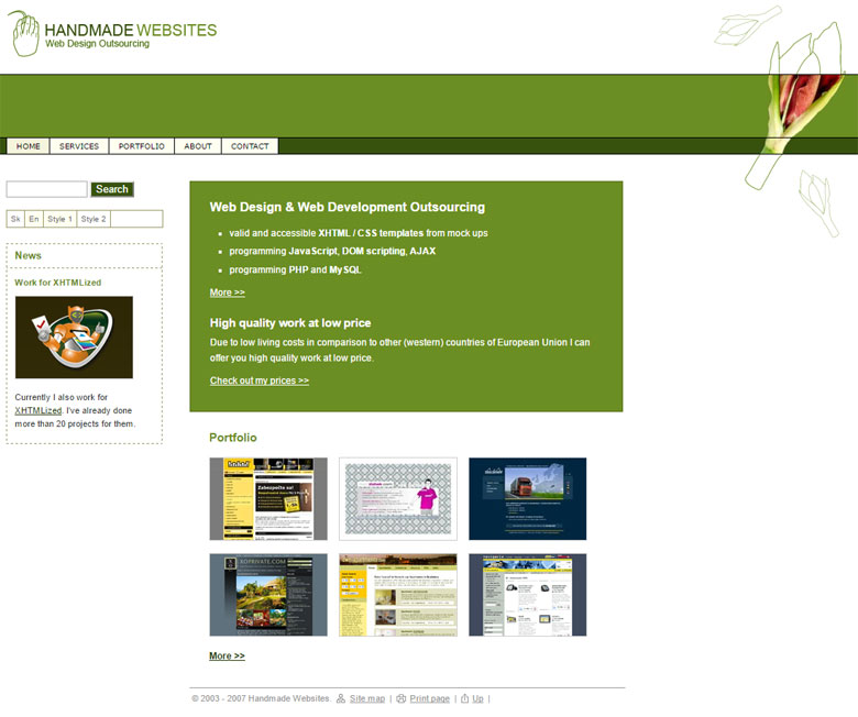 My company website early in 2007, when I already did 20 projects for Xfive