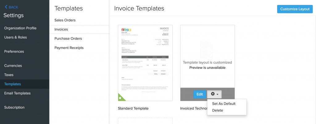 In Case You Would Like To Use New Invoice Template For Specific Invoices  Please Navigate To Your Invoices Section, Select Invoices Menu Item From  Left Side ...  Customize Invoice