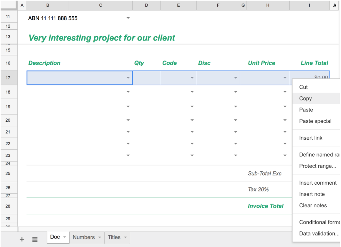 Custom Designed Google Sheets Templates Xfive - Quote template google docs