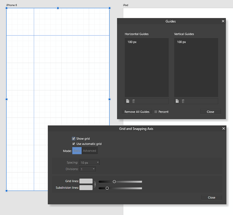 Grid and guides manager in Affinity Designer