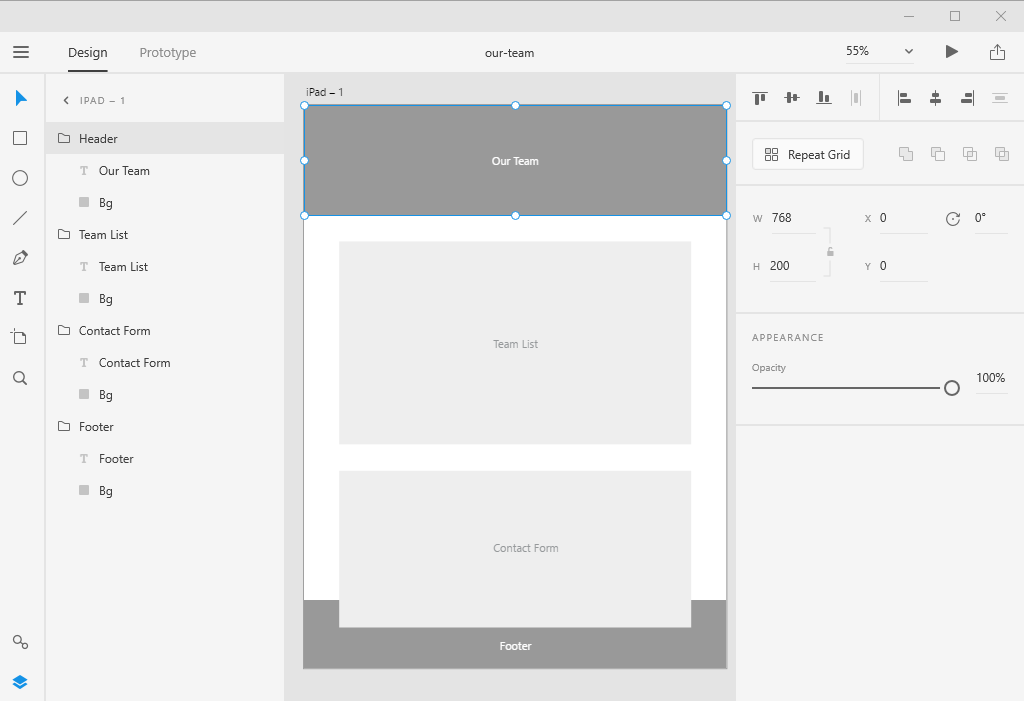Adobe XD groups
