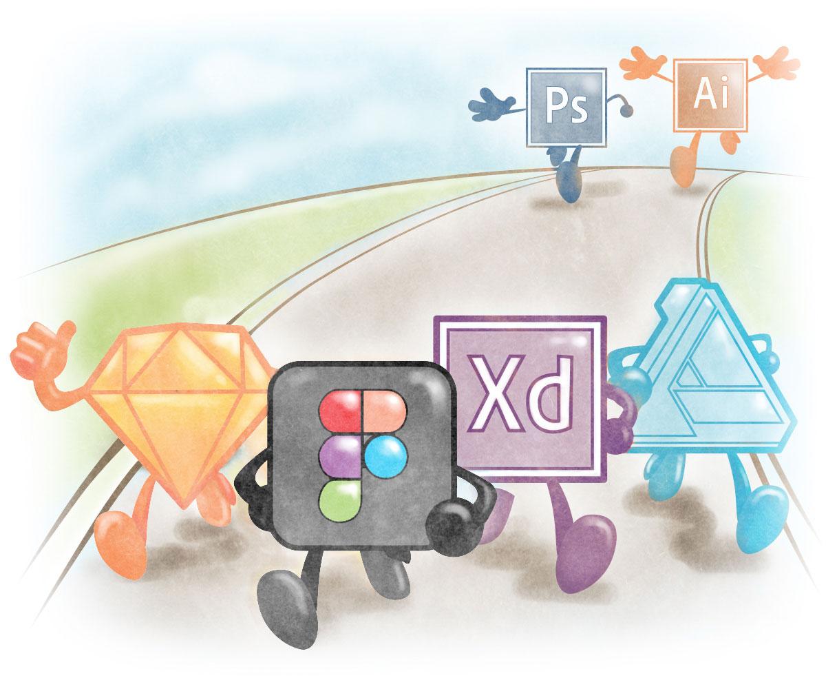 Figma, Sketch, Adobe XD, Affinity Designer, Photoshop, Illustrator competition